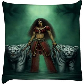 Snoogg indian gothic goddess 2871  Digitally Printed Cushion Cover Pillow 18 x 18 Inch