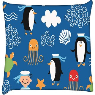 Snoogg marine pattern 2878  Digitally Printed Cushion Cover Pillow 18 x 18 Inch