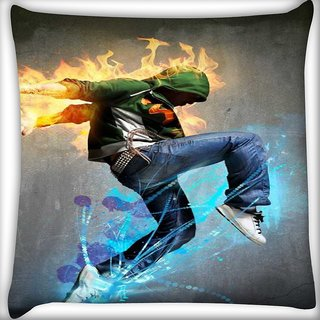 Snoogg Dancer rager Digitally Printed Cushion Cover Pillow 18 x 18 Inch