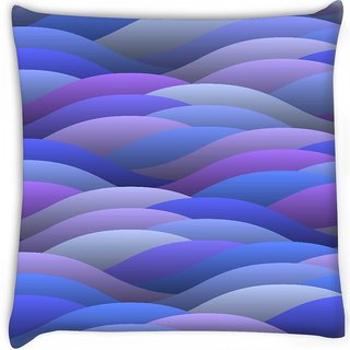 Snoogg  blue abstract waves Digitally Printed Cushion Cover Pillow 18 x 18 Inch
