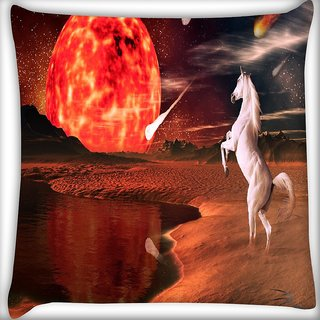 Snoogg White Horse Digitally Printed Cushion Cover Pillow 18 x 18 Inch
