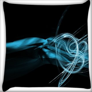 Snoogg Blue Smoke Digitally Printed Cushion Cover Pillow 18 x 18 Inch