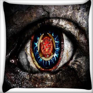 Snoogg Dangerous Eyes Digitally Printed Cushion Cover Pillow 18 x 18 Inch