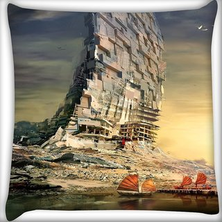 Snoogg Boat Building Digitally Printed Cushion Cover Pillow 18 x 18 Inch