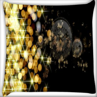 Snoogg Golden Sparkling Digitally Printed Cushion Cover Pillow 18 x 18 Inch