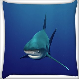 Snoogg Shark Digitally Printed Cushion Cover Pillow 18 x 18 Inch