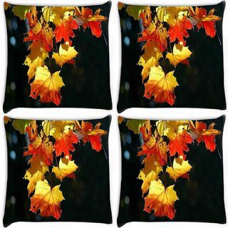 Snoogg Pack Of 3 Autumn Leaves In Trees Digitally Printed Cushion Cover Pillow 18 x 18Inch