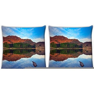 Snoogg Pack Of 3 Plain Water Digitally Printed Cushion Cover Pillow 18 x 18Inch