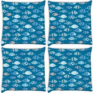 Snoogg Pack Of 3 Fishes In Blue Pattern Digitally Printed Cushion Cover Pillow 18 x 18Inch