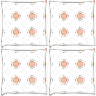 Snoogg Pack Of 3 Abstract Cream White Pattern Digitally Printed Cushion Cover Pillow 18 x 18Inch