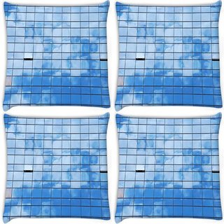 Snoogg Pack Of 3 Building Glasses Digitally Printed Cushion Cover Pillow 18 x 18Inch