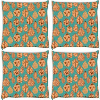 Snoogg Pack Of 3 Orange Leaves Digitally Printed Cushion Cover Pillow 18 x 18Inch