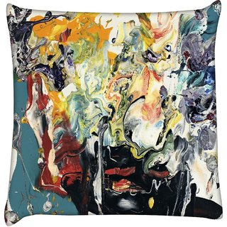 Snoogg  Wall Art Painting  Digitally Printed Cushion Cover Pillow 18 x 18 Inch