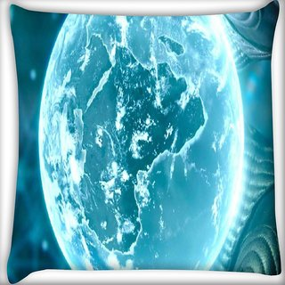 Snoogg Neon Earth Digitally Printed Cushion Cover Pillow 18 x 18 Inch