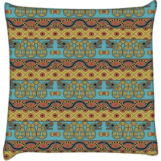 Snoogg  Aztec Pattern Mustard  Digitally Printed Cushion Cover Pillow 18 x 18 Inch