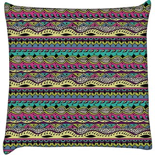 Snoogg  Azter Pattern Flowy  Digitally Printed Cushion Cover Pillow 18 x 18 Inch