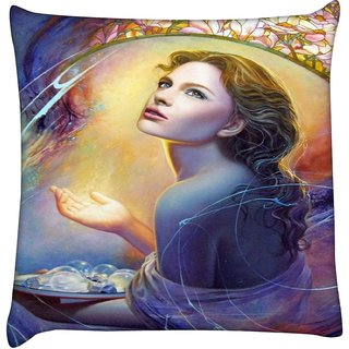 Snoogg  Angels in Heaven  Digitally Printed Cushion Cover Pillow 18 x 18 Inch