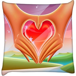 Snoogg hands forming a heart 2640  Digitally Printed Cushion Cover Pillow 18 x 18 Inch
