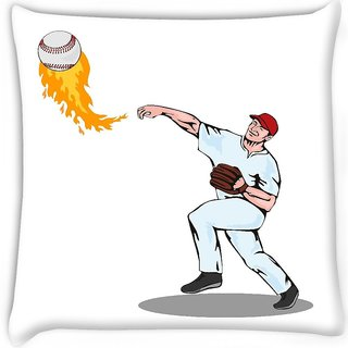 Snoogg  american baseball player pitcher Digitally Printed Cushion Cover Pillow 18 x 18 Inch