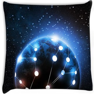 Snoogg  connected world Digitally Printed Cushion Cover Pillow 18 x 18 Inch