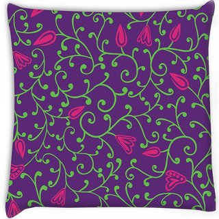 Snoogg  seamless pattern with leaf Digitally Printed Cushion Cover Pillow 18 x 18 Inch