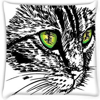 Snoogg  sketch of curious little cat looking at something on the ground vector illu Digitally Printed Cushion Cover Pillow 18 x 18 Inch