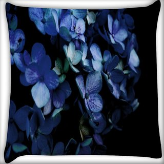 Snoogg Blue Petal Flower Digitally Printed Cushion Cover Pillow 18 x 18 Inch