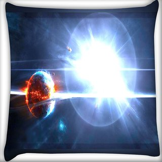 Snoogg Solar Sun Digitally Printed Cushion Cover Pillow 18 x 18 Inch