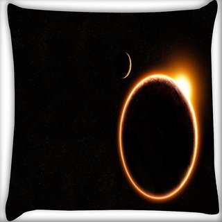 Snoogg Black Solar Digitally Printed Cushion Cover Pillow 18 x 18 Inch