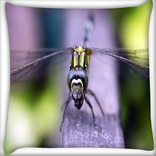 Snoogg Dark Dragonfly Digitally Printed Cushion Cover Pillow 18 x 18 Inch