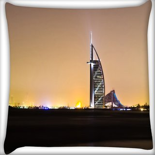 Snoogg Night View At Dubai Digitally Printed Cushion Cover Pillow 18 x 18 Inch