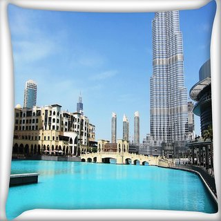 Snoogg Lake Near Burj Khalifa Digitally Printed Cushion Cover Pillow 18 x 18 Inch