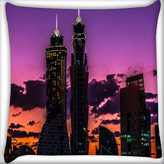 Snoogg Abstract Building At Night Digitally Printed Cushion Cover Pillow 18 x 18 Inch