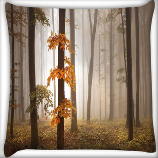 Snoogg Yellow Leaves Digitally Printed Cushion Cover Pillow 18 x 18 Inch