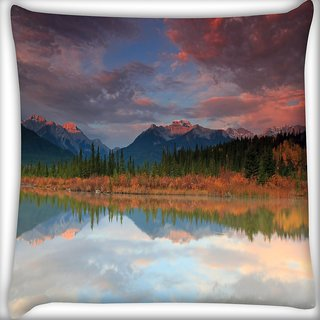 Snoogg Red Clouds Digitally Printed Cushion Cover Pillow 18 x 18 Inch