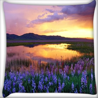 Snoogg Purple Flower Digitally Printed Cushion Cover Pillow 18 x 18 Inch