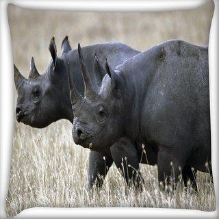 Snoogg Black Rhino Digitally Printed Cushion Cover Pillow 18 x 18 Inch