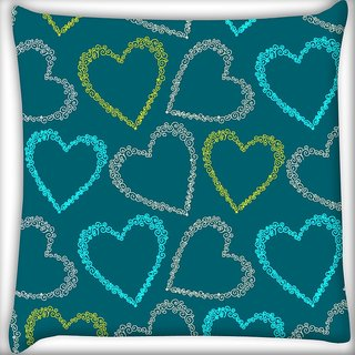 Snoogg Colorful Hearts Green Pattern Digitally Printed Cushion Cover Pillow 18 x 18 Inch