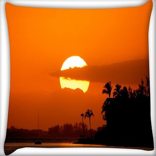 Snoogg Sunrise Digitally Printed Cushion Cover Pillow 18 x 18 Inch