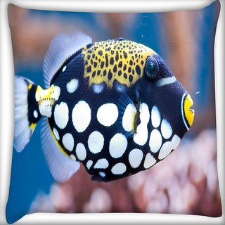 Snoogg Fish Animal Digitally Printed Cushion Cover Pillow 18 x 18 Inch