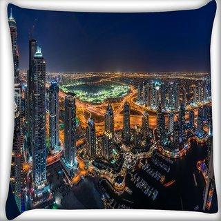Snoogg Buildings In Dubai Digitally Printed Cushion Cover Pillow 18 x 18 Inch