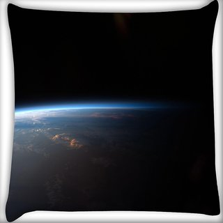Snoogg Satelite And Earth Digitally Printed Cushion Cover Pillow 18 x 18 Inch