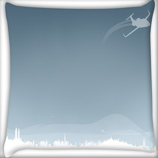 Snoogg Flying Plane Digitally Printed Cushion Cover Pillow 18 x 18 Inch