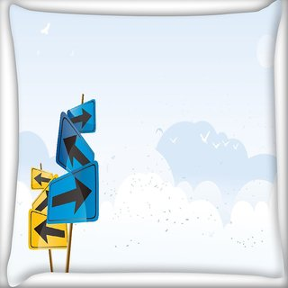 Snoogg Left And Right Digitally Printed Cushion Cover Pillow 18 x 18 Inch