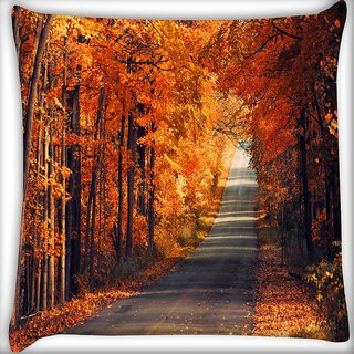 Snoogg Orange Trees Digitally Printed Cushion Cover Pillow 18 x 18 Inch