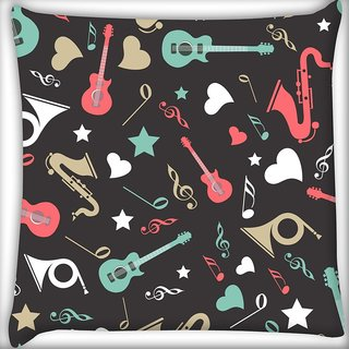 Snoogg Abstract Music Instruments Digitally Printed Cushion Cover Pillow 18 x 18 Inch