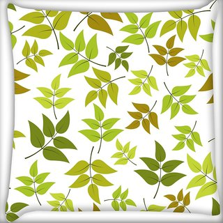 Snoogg Abstract Leaves White Pattern Digitally Printed Cushion Cover Pillow 18 x 18 Inch