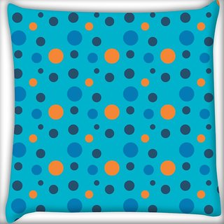 Snoogg Colorful Spots Blue Pattern Digitally Printed Cushion Cover Pillow 18 x 18 Inch