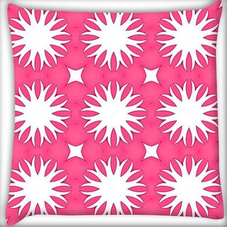 Snoogg White Floral Pink Digitally Printed Cushion Cover Pillow 18 x 18 Inch