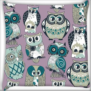 Snoogg Dull Owl Digitally Printed Cushion Cover Pillow 18 x 18 Inch